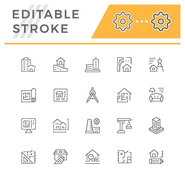 set line icons of architecture - architect stock illustrations