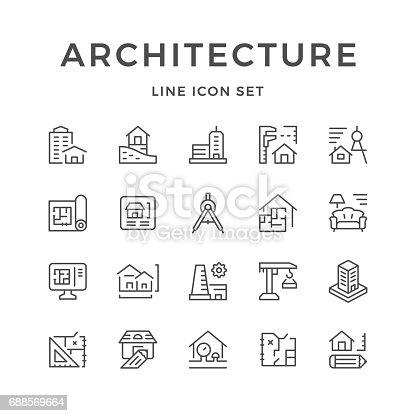 istock Set line icons of architecture 688569664
