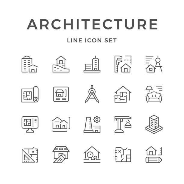 setzleitung ikonen der architektur - architekturberuf stock-grafiken, -clipart, -cartoons und -symbole