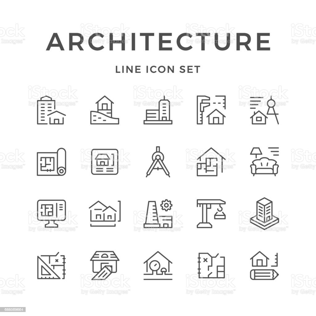 Set line icons of architecture vector art illustration