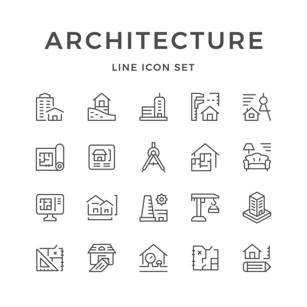 set line icons of architecture - architecture symbols stock illustrations