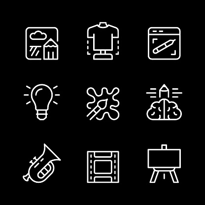 Set line icons of art and creativity