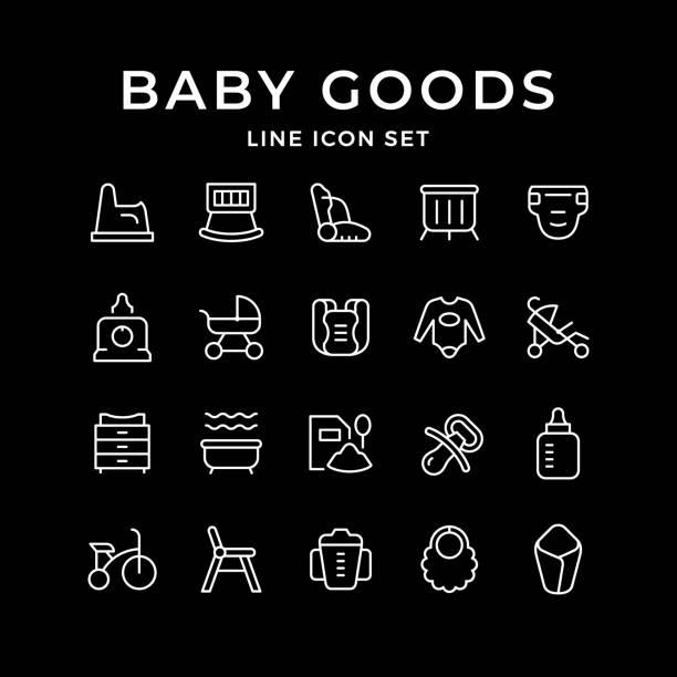 setzzeilensymbole von baby-waren - wickeltisch stock-grafiken, -clipart, -cartoons und -symbole