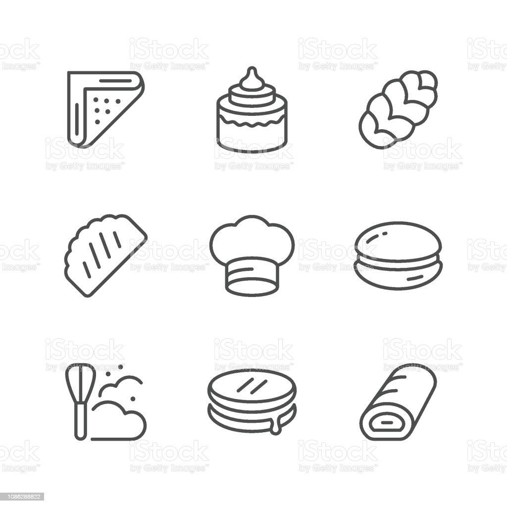 Set line icons of bakery vector art illustration