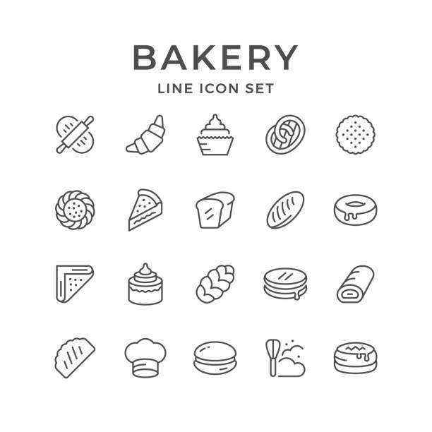 ilustrações, clipart, desenhos animados e ícones de linha de conjunto de ícones de padaria - comida salgada