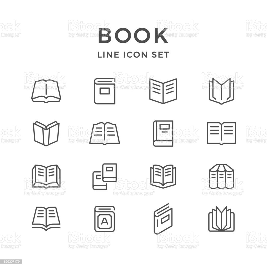 Linha de conjunto de ícones do livro - Vetor de Aberto royalty-free