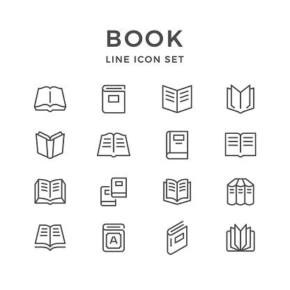 Vetores de Linha De Conjunto De Ícones Do Livro e mais imagens de Aberto