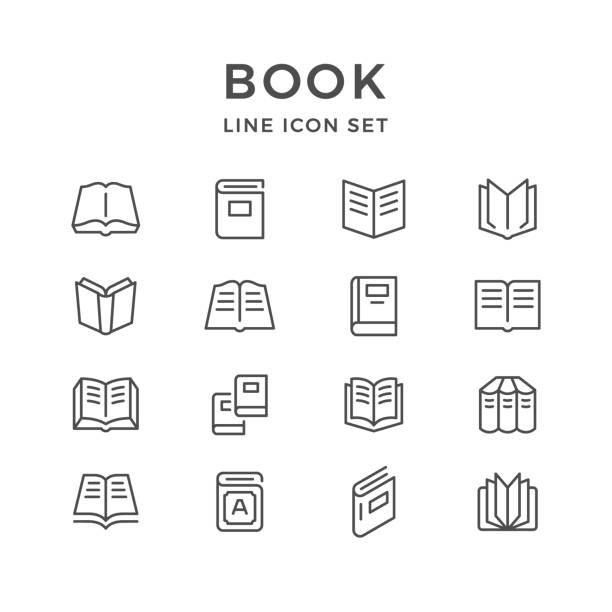 stockillustraties, clipart, cartoons en iconen met set lijn pictogrammen van boek - boek