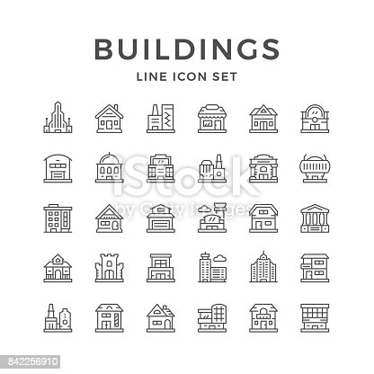 Set line icons of buildings isolated on white. Vector illustration