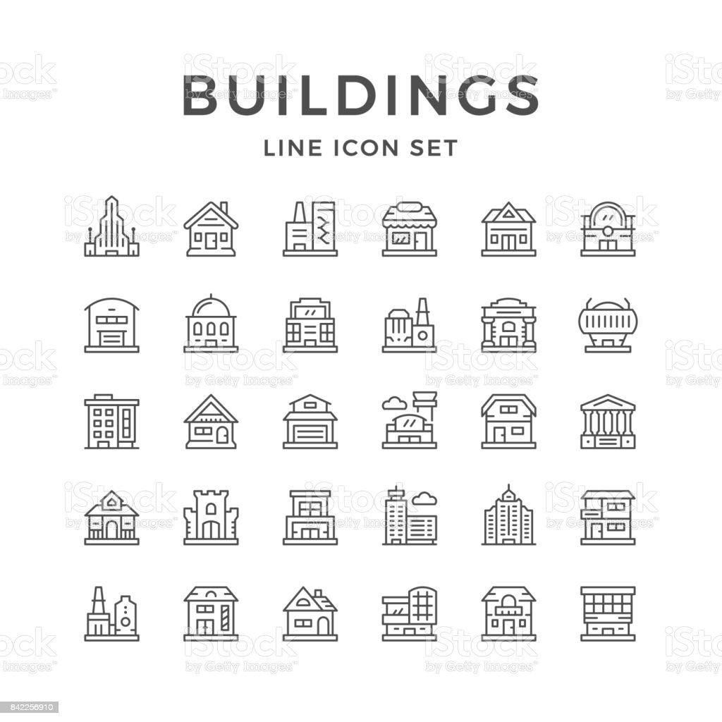 Set line icons of buildings vector art illustration