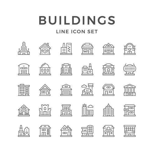 set line icons of buildings - architecture symbols stock illustrations