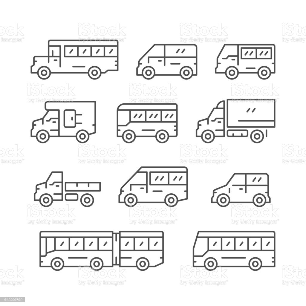 Set line icons of bus and van vector art illustration