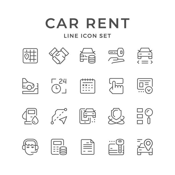 Set line icons of car rent Set line icons of car rent isolated on white. Vector illustration car salesperson stock illustrations