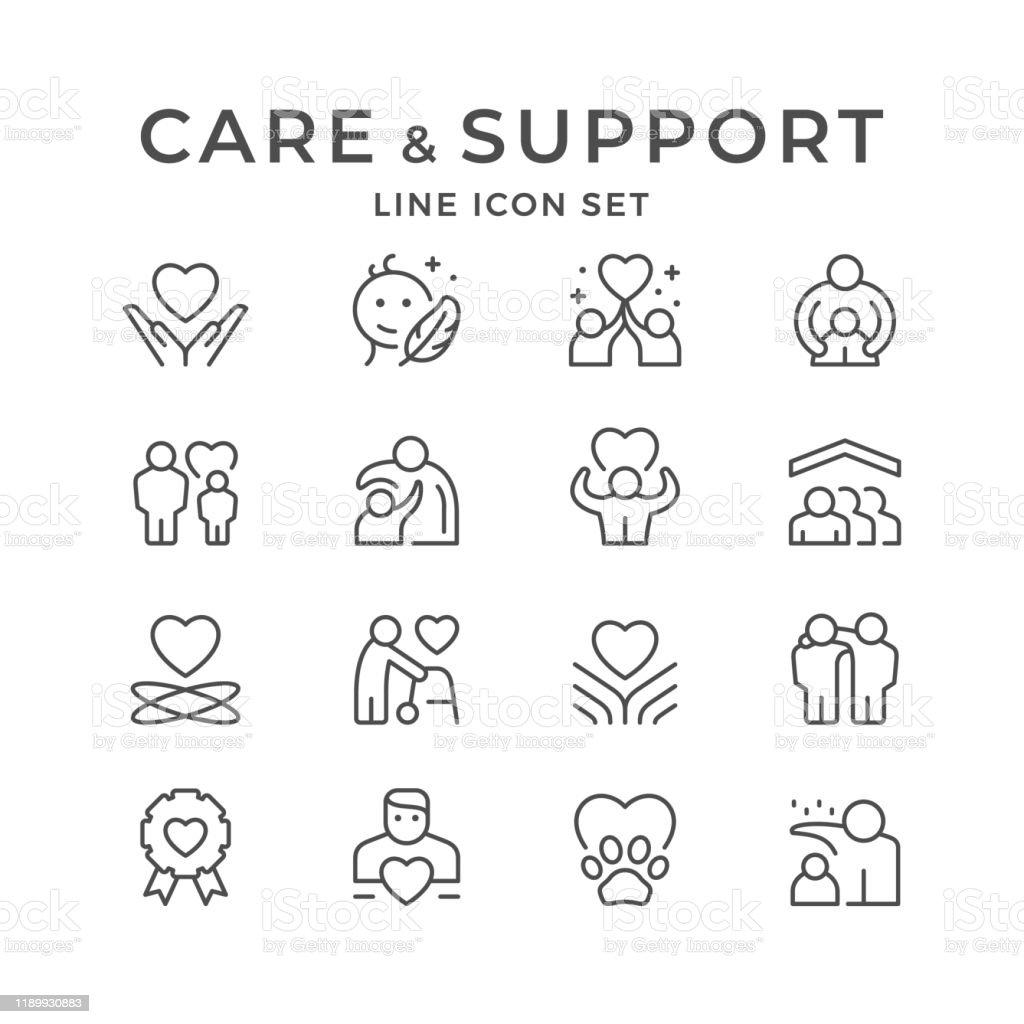 Ställ in linje ikoner av omsorg och stöd - Royaltyfri Assistans vektorgrafik