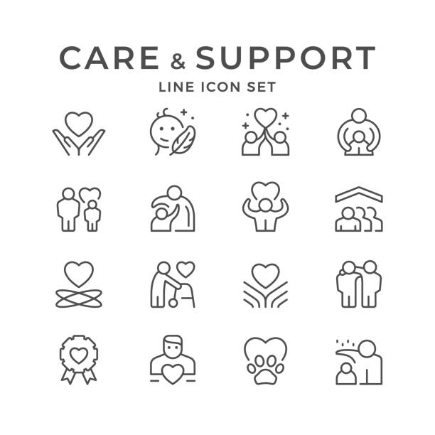 Set line icons of care and support Set line icons of care and support isolated on white. Mother protection, friend hug, volunteer sign, child protect, charity service. Vector illustration happy family stock illustrations