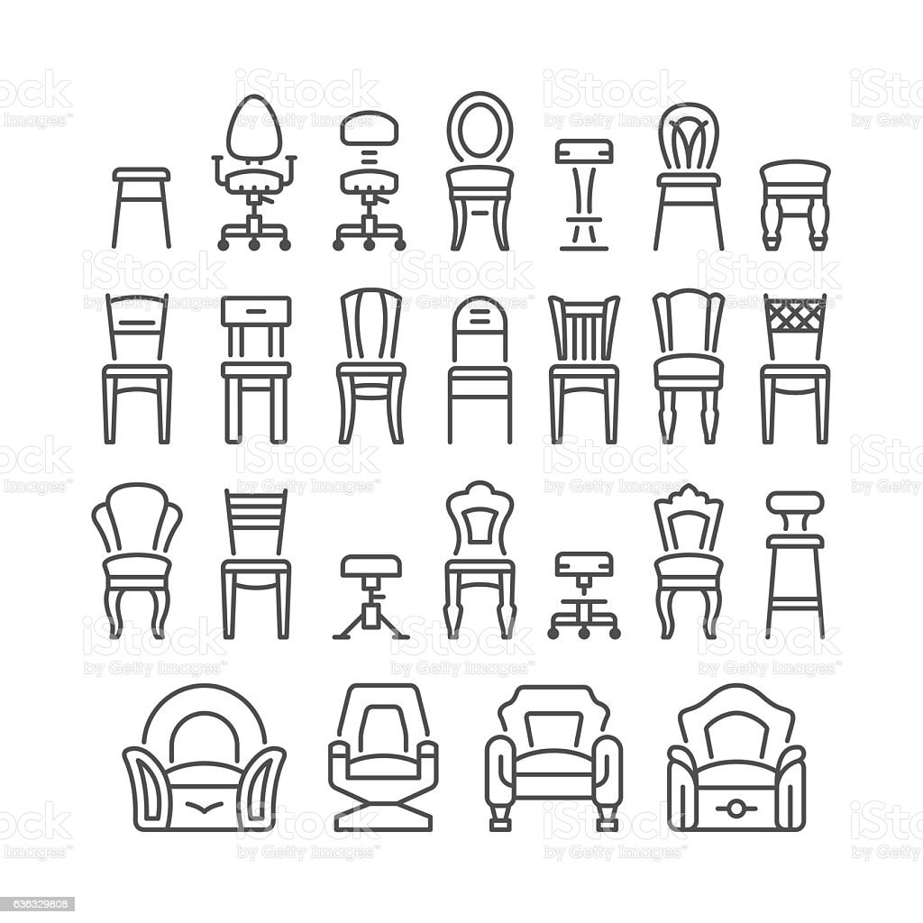 Set line icons of chair vector art illustration