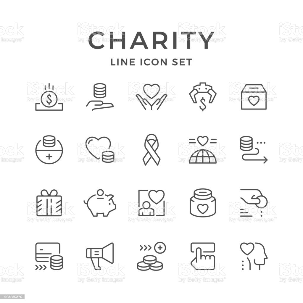 Set line icons of charity vector art illustration
