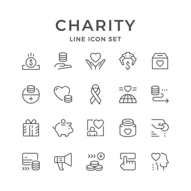 Set line icons of charity Set line icons of charity isolated on white. Vector illustration charity stock illustrations