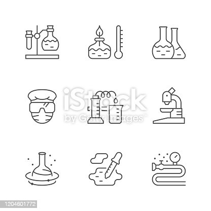 Set line icons of chemical lab isolated on white. Burner, flask, scientific experiment, microscope, reaction, laboratory specialist. Vector illustration