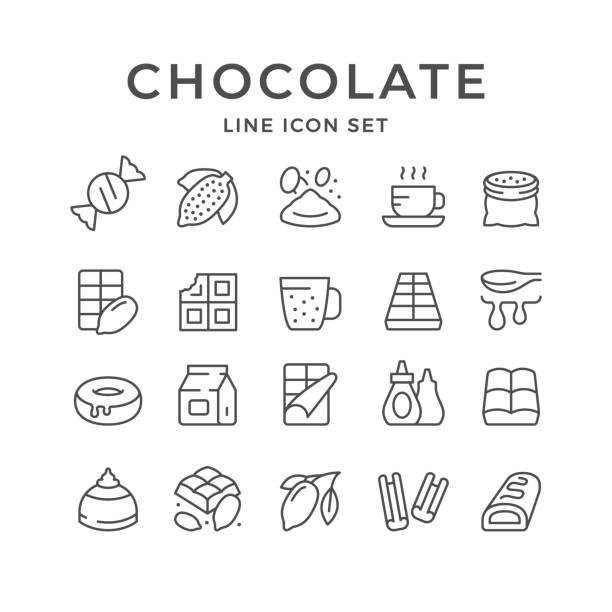 set linie symbole von schokolade und kakao - schokolade stock-grafiken, -clipart, -cartoons und -symbole