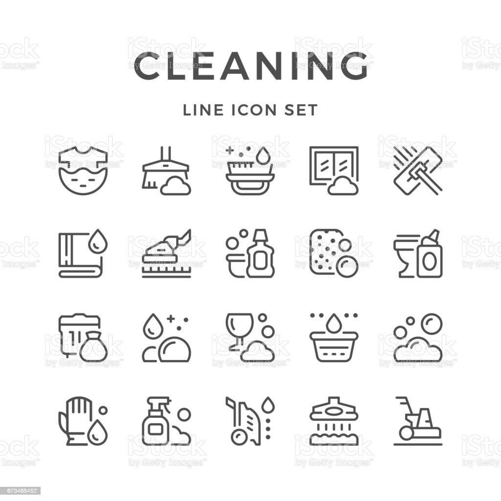Set line icons of cleaning vector art illustration