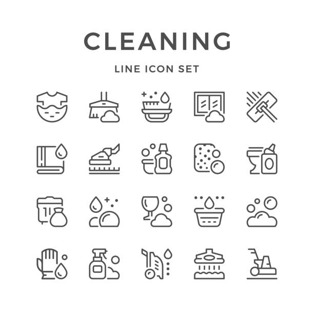 setzleitung ikonen der reinigung - mittel stock-grafiken, -clipart, -cartoons und -symbole