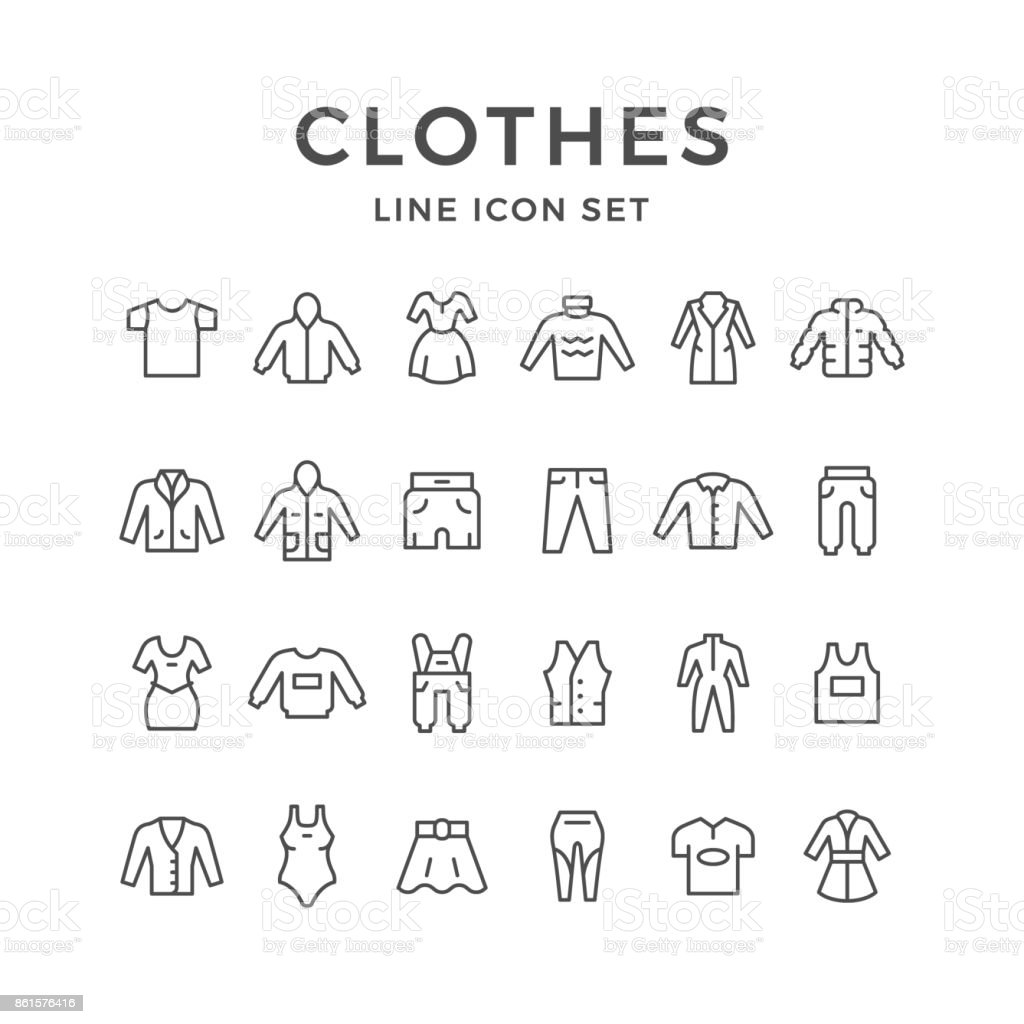 Set line icons of clothes vector art illustration