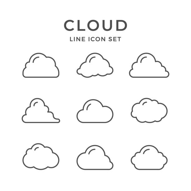 set line icons of cloud - clouds stock illustrations