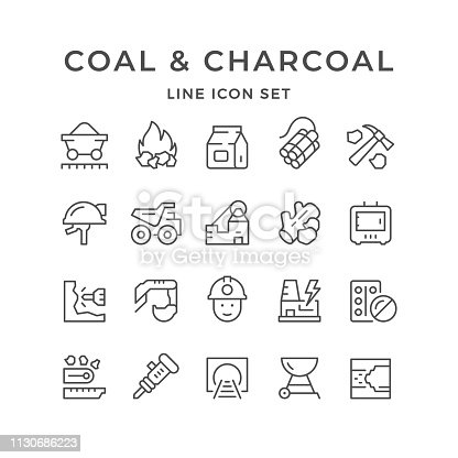 Set line icons of coal and charcoal isolated on white. Vector illustration