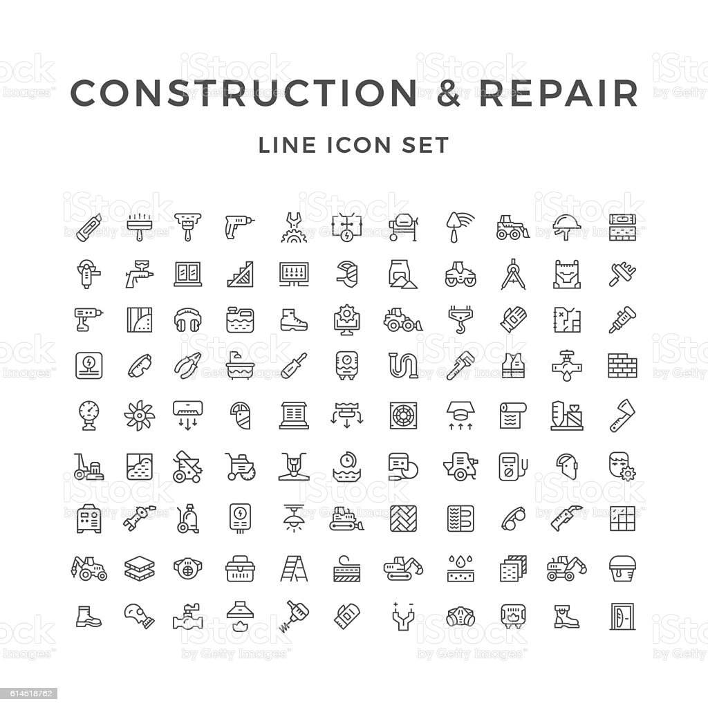 Set line icons of construction and repair vector art illustration