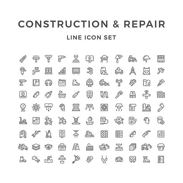 bildbanksillustrationer, clip art samt tecknat material och ikoner med set line icons of construction and repair - construction workwear floor