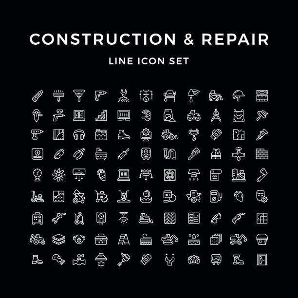 Stellen Linie Icons von Bau und Reparatur – Vektorgrafik