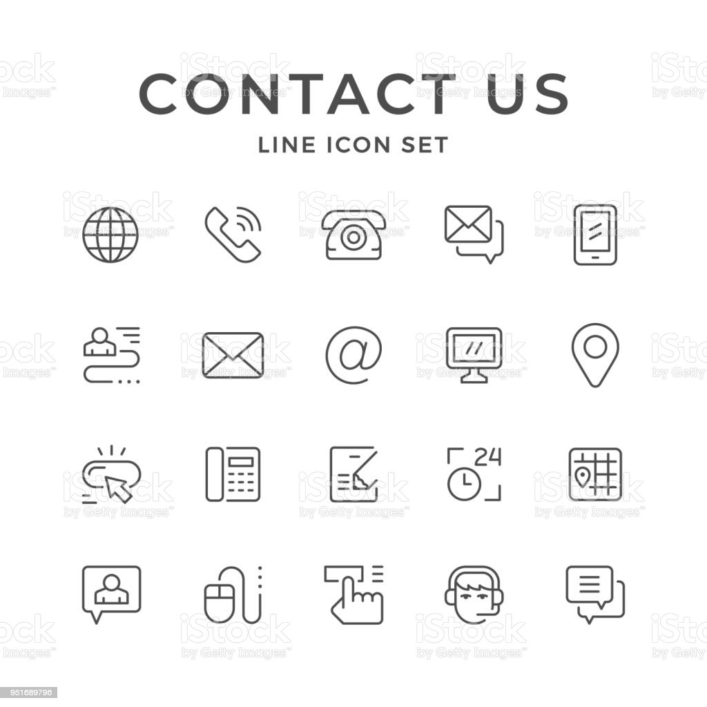 Set line icons of contact us vector art illustration