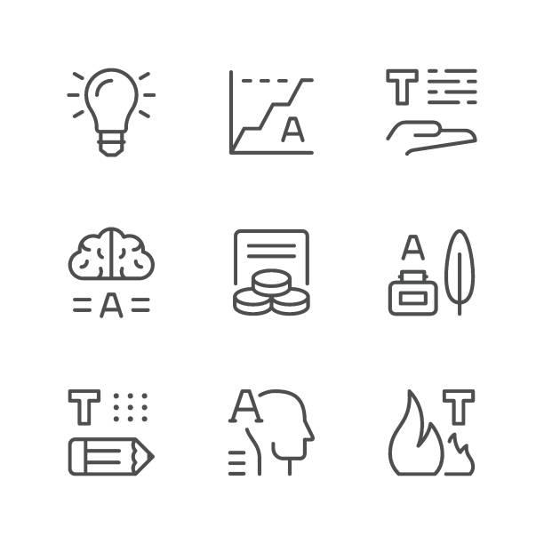 setzleitung symbole von copywriting - storytelling grafiken stock-grafiken, -clipart, -cartoons und -symbole