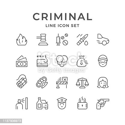 Set line icons of criminal isolated on white. Vector illustration