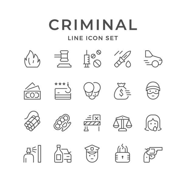 Set line icons of criminal Set line icons of criminal isolated on white. Vector illustration vandalism stock illustrations