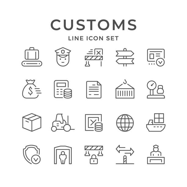 Set line icons of customs Set line icons of customs isolated on white. Vector illustration airport borders stock illustrations