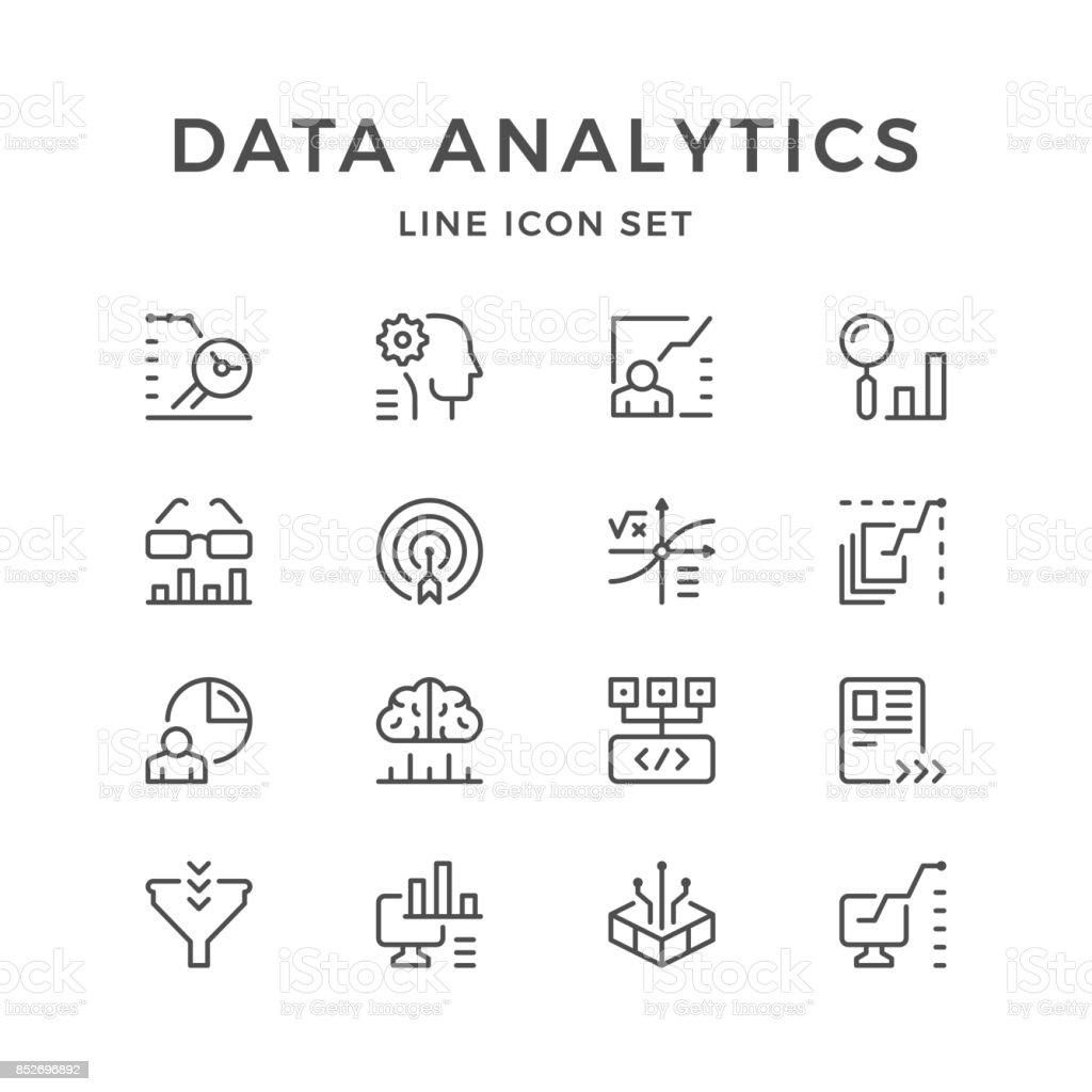 Set lijn iconen van gegevensanalysevectorkunst illustratie