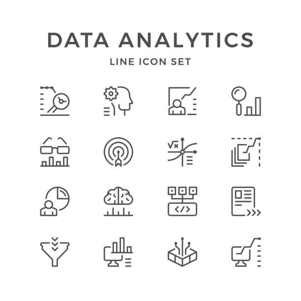 bildbanksillustrationer, clip art samt tecknat material och ikoner med ange rad ikoner av dataanalys - brain magnifying