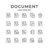 Set line icons of document isolated on white. Vector illustration