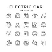 Set line icons of electric car isolated on white. Vector illustration