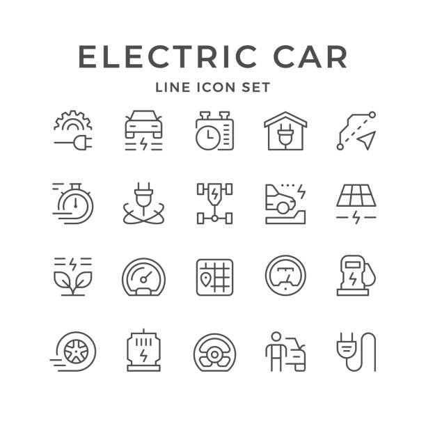 Set line icons of electric car Set line icons of electric car isolated on white. Vector illustration electric vehicle charging station stock illustrations