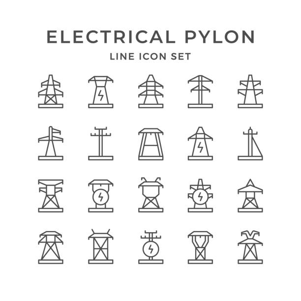 Set line icons of electrical pylon Set line icons of electrical pylon isolated on white. Vector illustration electricity pylon stock illustrations