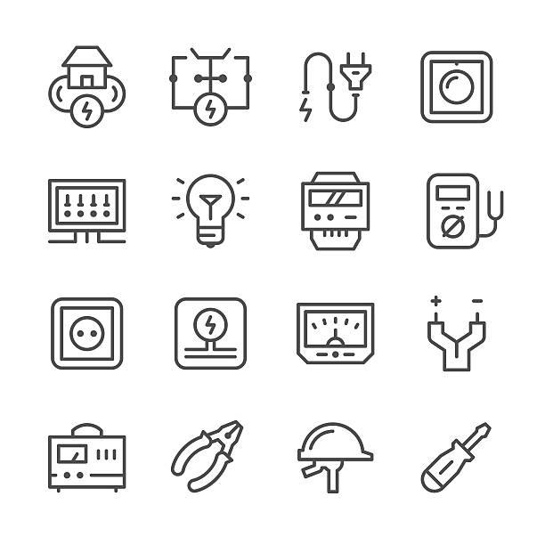 ilustrações, clipart, desenhos animados e ícones de set line icons of electricity - eletricista