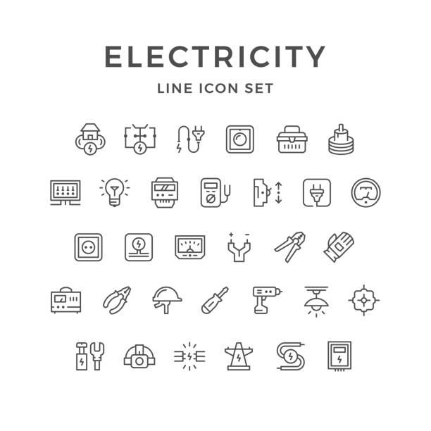 Conjunto de iconos de electricidad - ilustración de arte vectorial