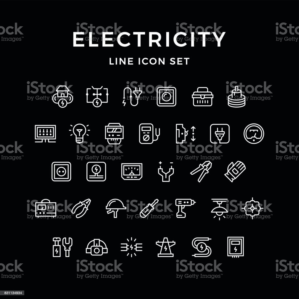 Set line icons of electricity vector art illustration