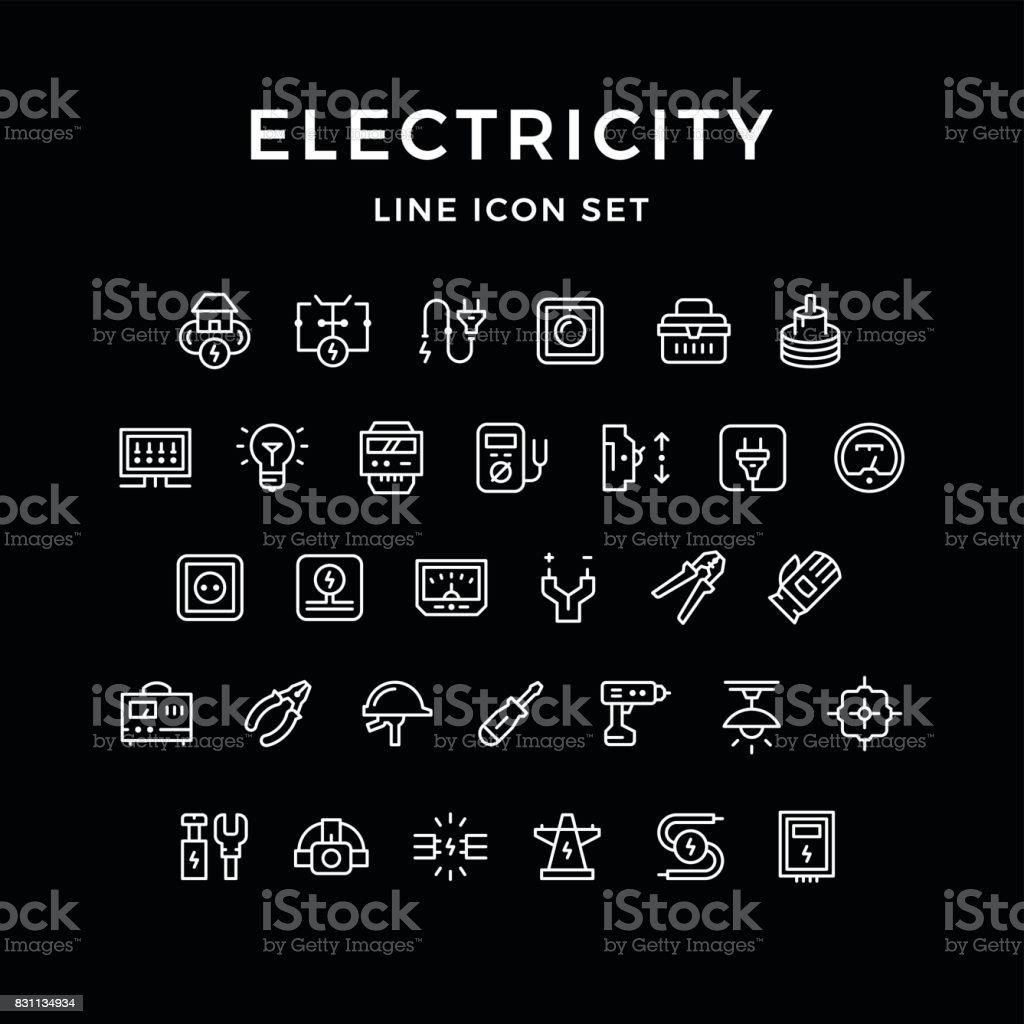 アイコンセットの電力ライン ベクターアートイラスト