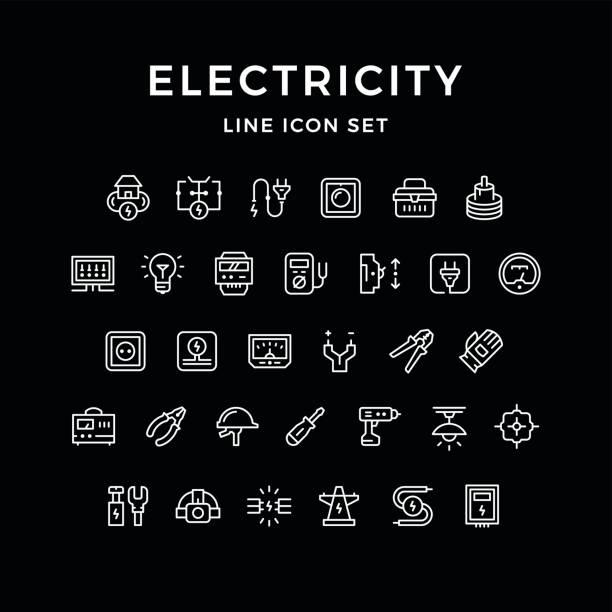 ilustrações, clipart, desenhos animados e ícones de conjunto de ícones de linha de eletricidade - eletricista