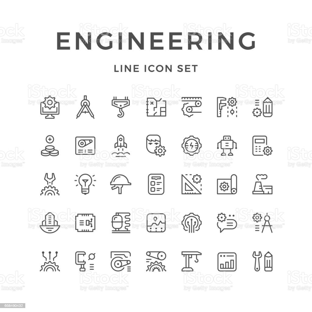 Set line icons of engineering vector art illustration