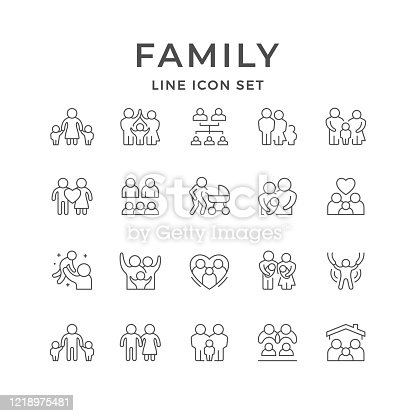 Set line icons of family isolated on white. Children and parents, love concept, newborn. Vector illustration